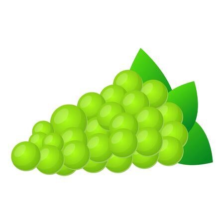 Green grapes icon. Cartoon of green grapes icon for web design isolated on white background Banco de Imagens