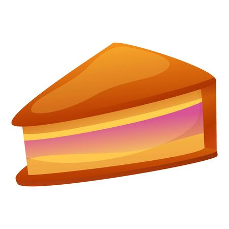Cheesecake icon. Cartoon of cheesecake icon for web design isolated on white background