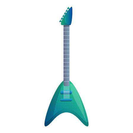 Green mint guitar icon. Cartoon of green mint guitar icon for web design isolated on white background