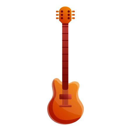 Electric bass guitar icon. Cartoon of electric bass guitar icon for web design isolated on white background