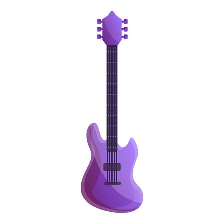 Colorful violet guitar icon. Cartoon of colorful violet guitar icon for web design isolated on white background