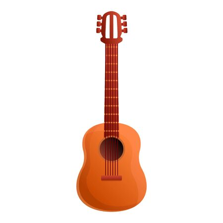Classic wood guitar icon. Cartoon of classic wood guitar icon for web design isolated on white background