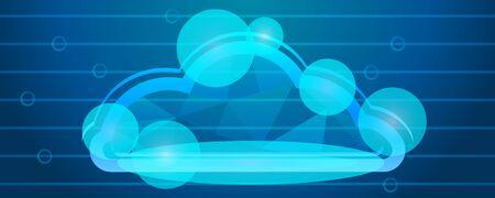 Data cloud concept banner. Cartoon illustration of data cloud concept banner for web design