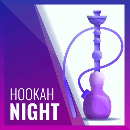 Hookah night concept banner. Cartoon illustration of hookah night concept banner for web design Фото со стока