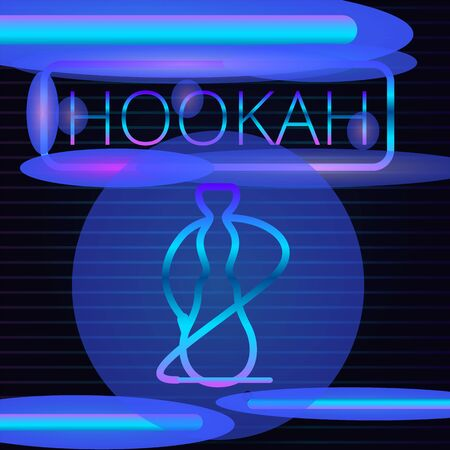 Neon hookah concept banner. Cartoon illustration of neon hookah concept banner for web design Stock fotó - 131392809