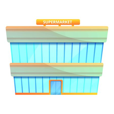 Supermarket mall icon. Cartoon of supermarket mall icon for web design isolated on white background Stock Photo