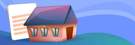 House mortgage concept banner. Cartoon illustration of house mortgage concept banner for web design Stok Fotoğraf