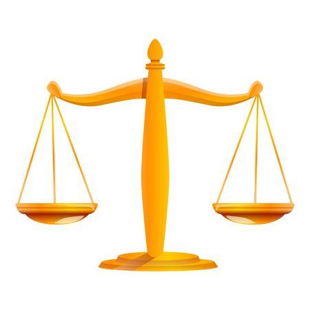 Judge gold balance icon. Cartoon of judge gold balance icon for web design isolated on white background Stok Fotoğraf