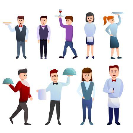 Waiter icons set. Cartoon set of waiter icons for web design