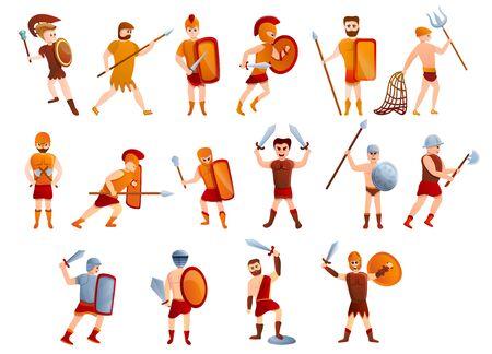 Gladiator icons set. Cartoon set of gladiator icons for web design Stock Photo