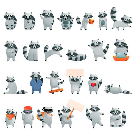 Raccoon icons set. Cartoon set of raccoon icons for web design