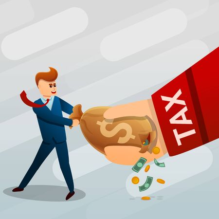Tax concept background. Cartoon illustration of tax concept background for web design Stok Fotoğraf