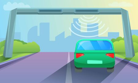 Toll road concept background. Cartoon illustration of toll road concept background for web design