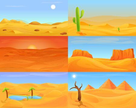 Desert banner set. Cartoon illustration of desert banner set for web design 写真素材