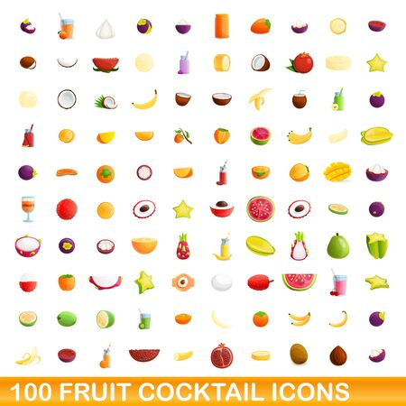 Fruit cocktail icons set. Cartoon set of 100 fruit cocktail icons for web isolated on white background