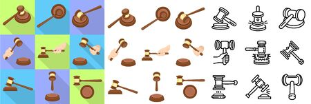 Judge hammer icons set. Flat and outline set of judge hammer vector icons for web design