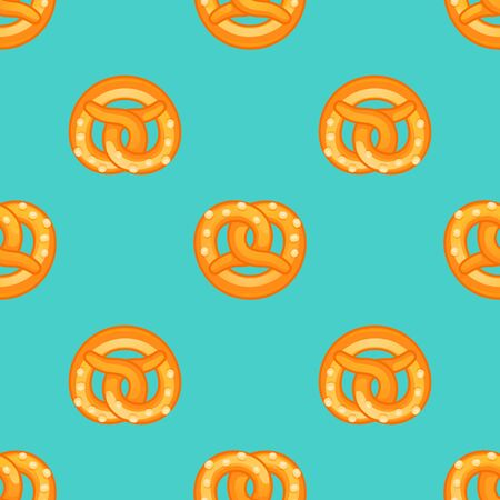 Pretzel pattern. Cartoon illustration of pretzel vector pattern for web design