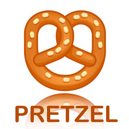 Tasty pretzel concept background. Cartoon illustration of tasty pretzel vector concept background for web design Illustration