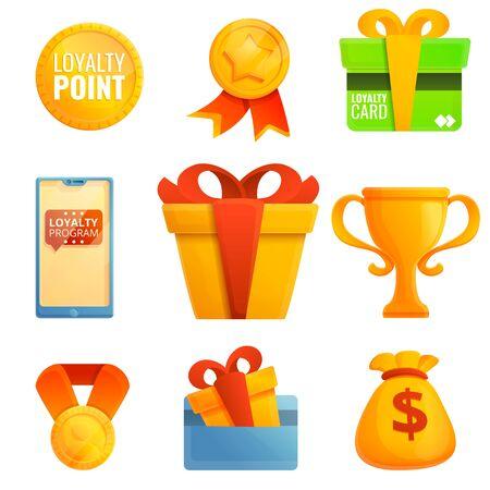 Loyalty program icons set. Cartoon set of loyalty program vector icons for web design Illustration