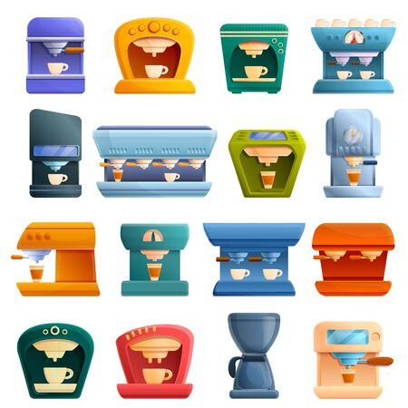 Coffee machine icons set. Cartoon set of coffee machine vector icons for web design Ilustração