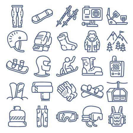 Snowboard equipment icon. Outline snowboard equipment icon for web design isolated on white background