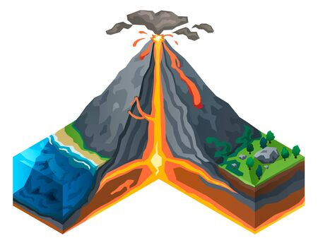 Volcano structure concept banner. Isometric illustration of volcano structure  concept banner for web design