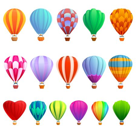 Air balloon icons set. Cartoon set of air balloon vector icons for web design