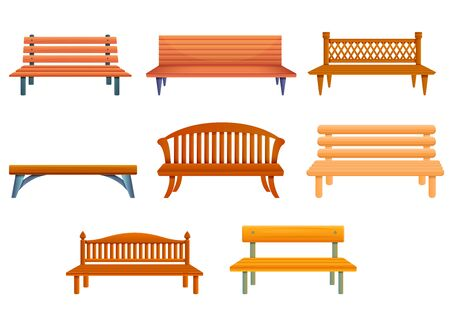 Bench icons set. Cartoon set of bench vector icons for web design
