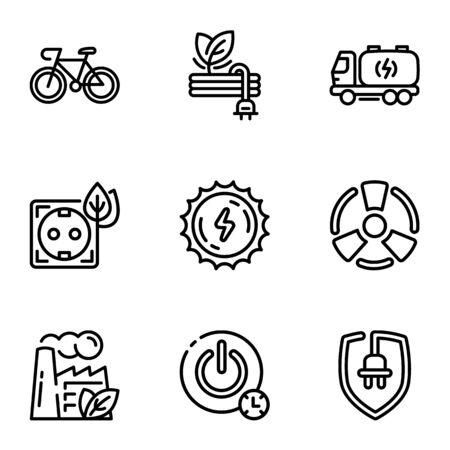 Global energy icon set. Outline set of 9 global energy icons for web design isolated on white background