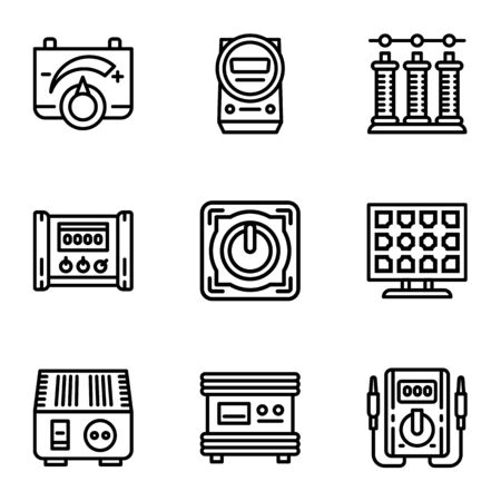 Solar energy convertor icon set. Outline set of 9 solar energy convertor icons for web design isolated on white background