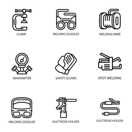 Welding icon set. Outline set of 9 welding icons for web design isolated on white background Stockfoto