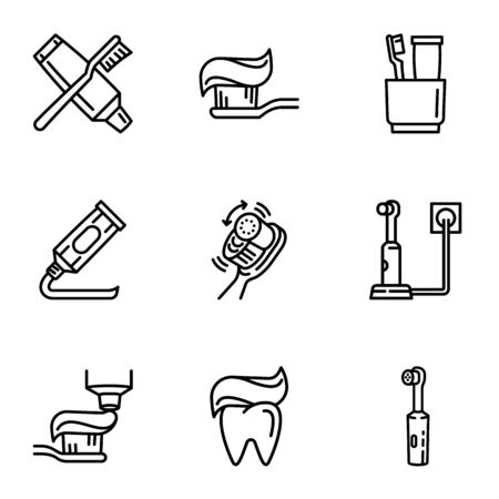 Dental tooth care icon set. Outline set of 9 dental tooth care icons for web design isolated on white background