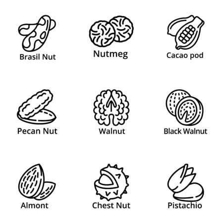 Nuts food icon set. Outline set of 9 nuts food icons for web design isolated on white background Stock Photo