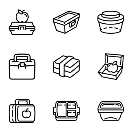 Lunch box icon set. Outline set of 9 lunch box icons for web design isolated on white background
