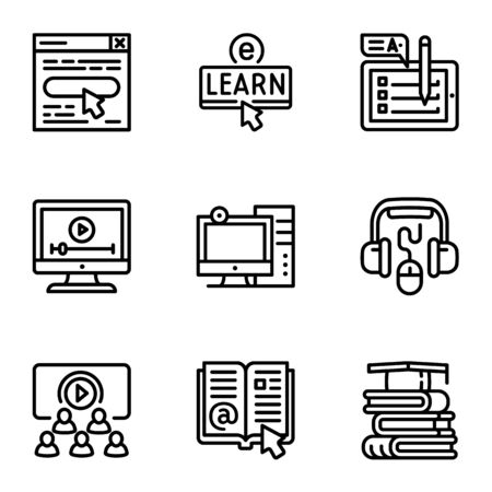 Online library icon set. Outline set of 9 online library icons for web design isolated on white background