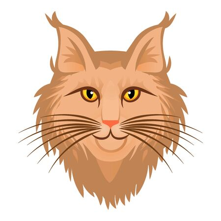 Cute head maine coon icon. Cartoon of cute head maine coon icon for web design isolated on white background