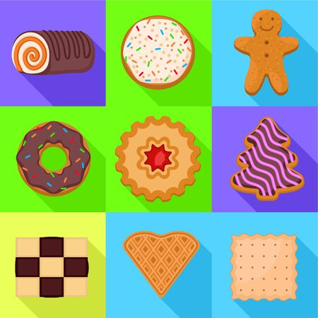 Biscuit icon set. Flat set of 9 biscuit icons for web design isolated on white background