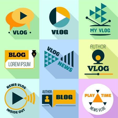 Flat set of 9 vlog icon for web design isolated on white background 스톡 콘텐츠