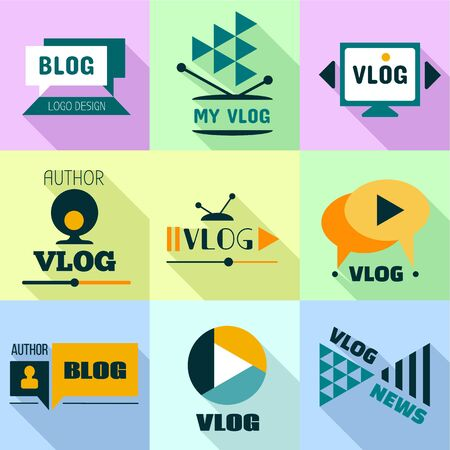 Video blog icon set. Flat set of 9 video blog icon for web design isolated on white background 스톡 콘텐츠
