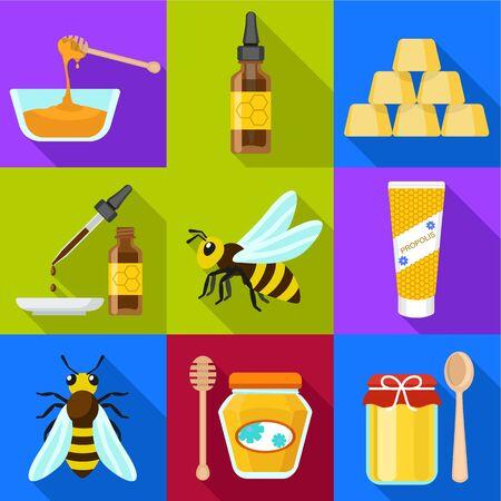 Honey icon set. Flat set of 9 honey icons for web design isolated on white background