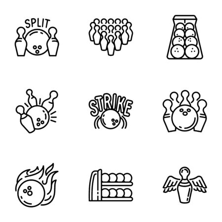 Bowling game icon set. Outline set of 9 bowling game icons for web design isolated on white background Фото со стока
