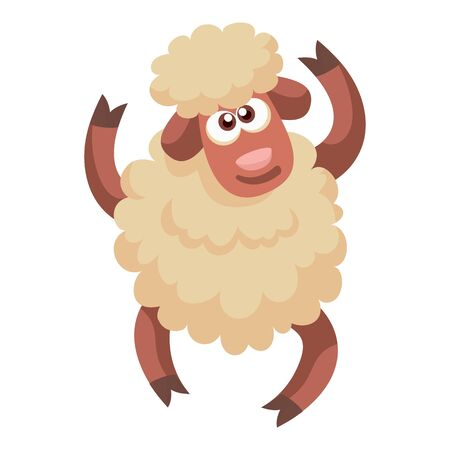 Dancing sheep icon. Cartoon of dancing sheep icon for web design isolated on white background