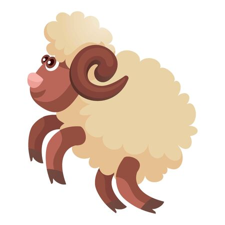 Jumping ram icon. Cartoon of jumping ram icon for web design isolated on white background
