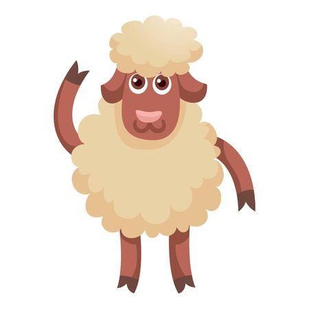 Wool white sheep concept banner. Flat illustration of wool white sheep concept banner for web design