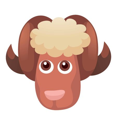 Head cute ram icon. Cartoon of head cute ram icon for web design isolated on white background Stock Photo