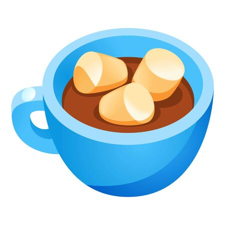 Marshmallow hot cup icon. Cartoon of marshmallow hot cup icon for web design isolated on white background Banco de Imagens