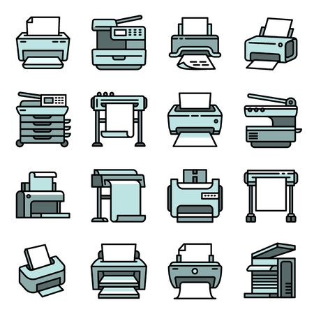 Printer icons set. Outline set of printer icons for web design isolated on white background