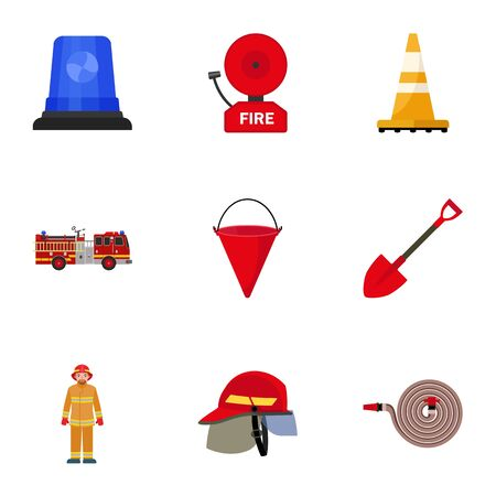 Firefighter tools icon set. Flat set of 9 firefighter tools icons for web design isolated on white background