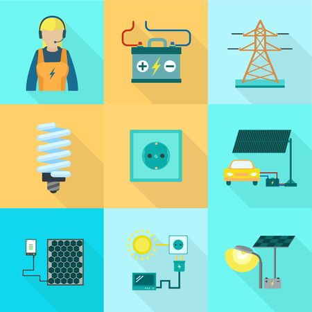 Electric icon set. Flat set of 9 electric icons for web design isolated on white background