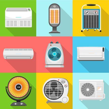 Heater icon set. Flat set of 9 heater icons for web design isolated on white background